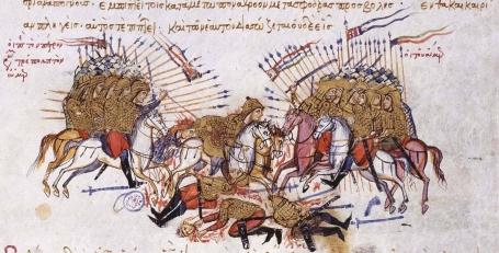 Combate_tropas_bizantinas_y_árabes_Siglo_XIV