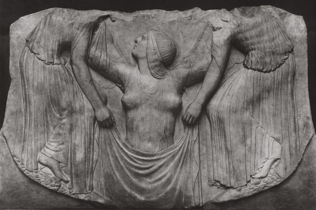 "Birth of Aphrodite. Altar of Aphrodite, so-called ""Ludovisi Throne"". Marble. First third of the 5th century B.C. Rome, Roman National Museum, Palazzo Altemps."